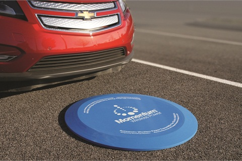 Momentum Dynamics has developed high power wireless chargers for multiple vehicles including passenger EVs and commercial EVs. Transmitters can be embedded within pavement or installed as a ground pad, as shown.