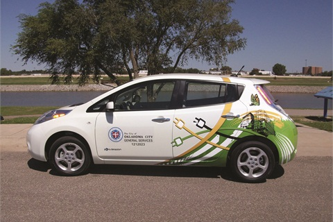 The City of Oklahoma City has two 2012 Nissan LEAF sedans. In addition, the City fleet includes electric, hybrid, CNG, and B-20- powered vehicles.