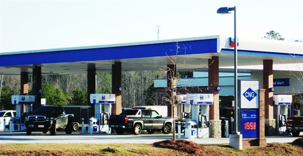 The City of Trussville, Ala., fuels its 40 CNG fleet vehicles at this Chevron station. The city-owned utility supplies natural gas to the station, which is open to the public.