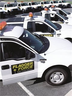 The 350-vehicle Flagger Force Fleet transports employees and equipment to job sites and provides work crew protection.