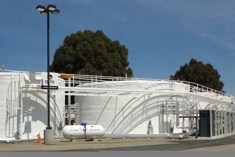 the Sacramento BioDigester (above), an anaerobic digestion system that converts 25 tons of food waste into different forms of renewable energy.