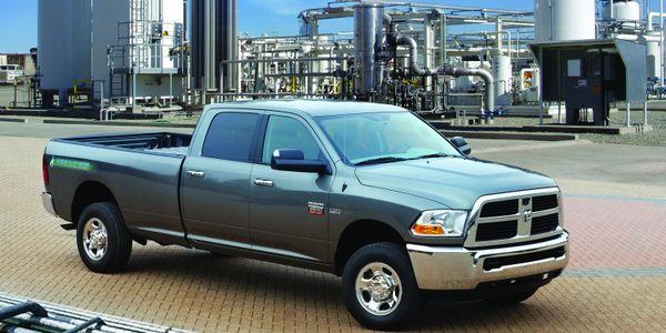 The CNG-only range of the Ram 2500 CNG pickup is 255 miles.The gasoline backup extends the range...