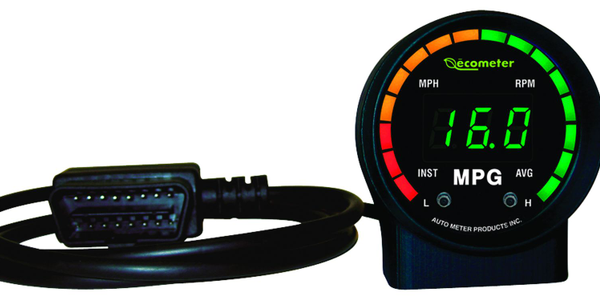 """Working with a vehicle's OBD-II, the Ecometer is a """"plug-and-play"""" instantaneous fuel-efficiency..."""