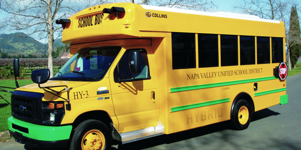 A hybrid school bus from Napa Valley USD.
