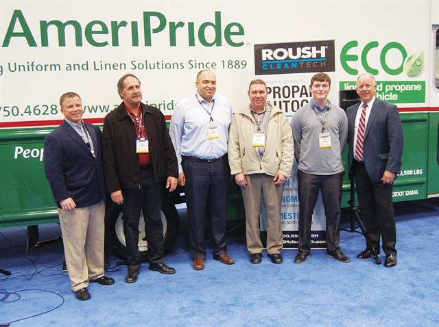 Todd Mouw (far left) of ROUSH CleanTech and AmeriPride Fleet Manager Banny Allison (third from left) were on hand to unveil the fleet's new propane-autogas step vans. The company will be adding 20 of these vans to its California operations. Photo by Chris Wolski.