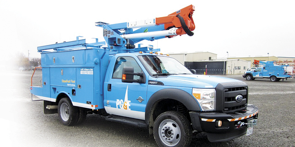 PG&E's Class 5 plug-in hybrid electric bucket truck, developed in partnership with Efficient...