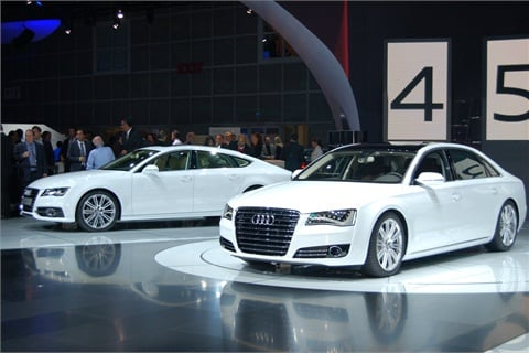 Audi also announced it plans to roll out TDI clean diesel-equipped models of its A8, A7, A6, and Q5 vehicles at the LA Auto Show. The automaker also showed an updated version of its Q7 TDI at the event.