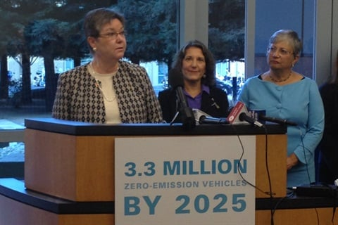 (L to R): Mary D. Nichols, Chairman, California Air Resources Board; Deb Markowitz, Secretary, Vermont Agency of Natural Resources; Susan Griffin, Director of the Board, American Lung Association. Photo courtesy of the California Air Resoures Board.