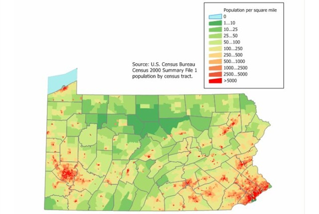 Pennsylvania population map via Wikimedia.
