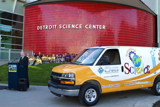 Detroit Science Center's new CNG-powered Chevrolet Express van.