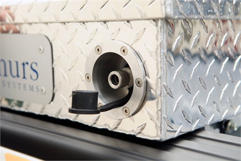 The F-150 CNG-capable nozzle allows CNG to be filled into the tank.Photo courtesy of Ford Motor Co.