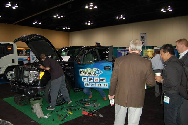 Green Fleet Conference attendees watched as two technicians converted an F-150 to run on gasoline and compressed natural gas (CNG).