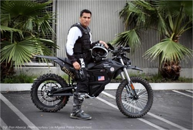 LAPD Sgt. Ron Alberca ready to ride the Zero MMX. Photo courtesy of Zero.