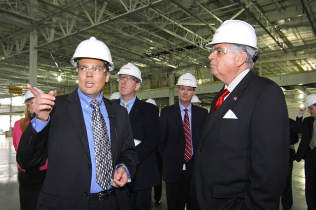 Transportation Sec. LaHood tours Nissan battery plant construction site.