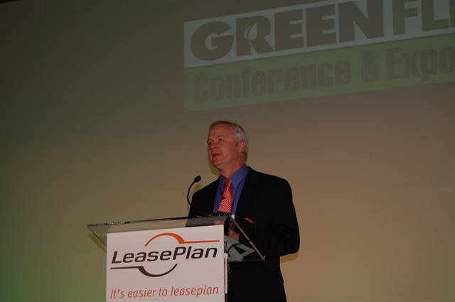 FedEx's Mitch Jackson discussed the company's approach to balancing sustanability and the bottom line at the Wednesday morning keynote during the 2012 Green Fleet Conference.