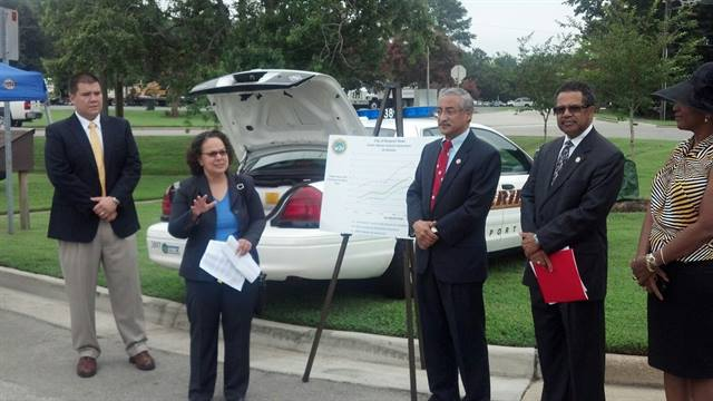 Nancy Sutley, the President's principal environmental advisor, along with U.S. Representative Bobby Scott, Mayor McKinley Price and other local officials, toured the Newport News Vehicle & Equipment Services Department to get a firsthand look at the 12 propane-powered Ford Crown Victorias and 10 Chevrolet Silverado 2500 trucks.