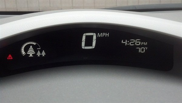 """<p>This display shows the """"trees"""" (representing how much energy was recaptured from regenerative braking) Kibler described in his account of the journey to the meeting.</p>"""