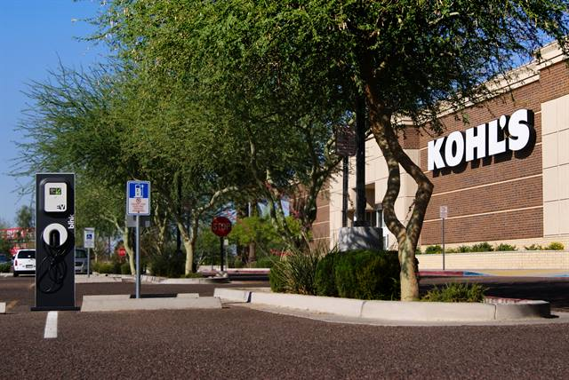 Each of the participating Kohl's locations will have two or three parking spaces reserved for EV drivers to charge at no cost while they shop, according to the company.