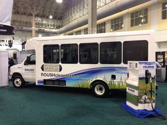 This E-450-based shuttle bus features a 6.8-liter, V10 engine and a 41-gallon propane autogas fuel tank.