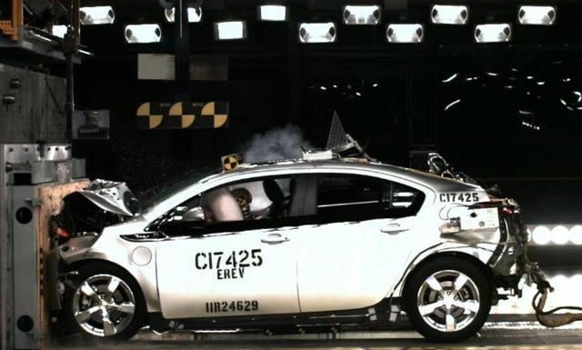 The Volt undergoes a 35 mph front-impact crash test.