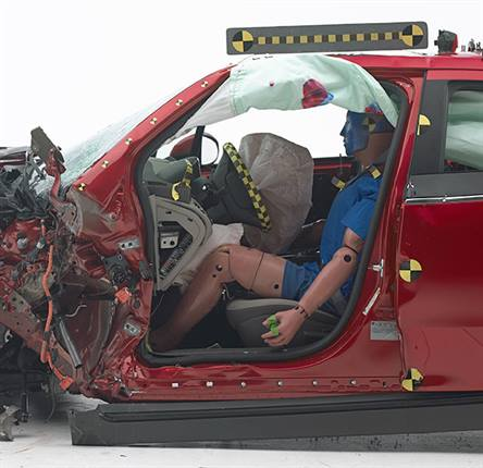 "The IIHS gave Volt an ""acceptable"" rating in the small-overlap test, noting that driver space ""was maintained reasonably well, and data taken from the dummy indicate a low risk of significant injuries."" Photo: IIHS"