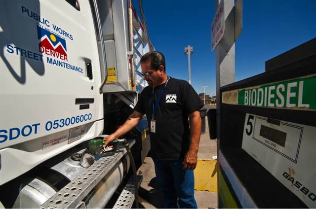 A biodiesel truck in Denver's fleet fuels up