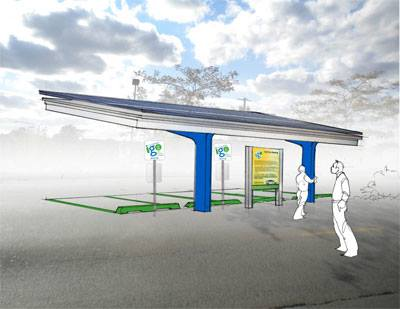 A rendering of an I-GO solar-powered EV station canopy