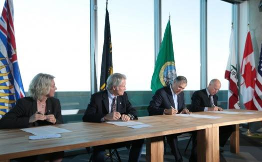 (L-R): British Columbia Minister of Environment Mary Polak, Oregon Governor John Kitzhaber, Washington Governor Jay Inslee, and California Governor Jerry Brown. Photo courtesy of Gov. Brown's office.