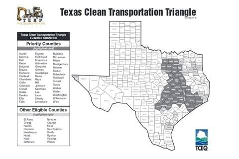 Clean Transportation Triange (CCT) grants provide funding for natural gas fueling stations in 63 eligible Texas counties.