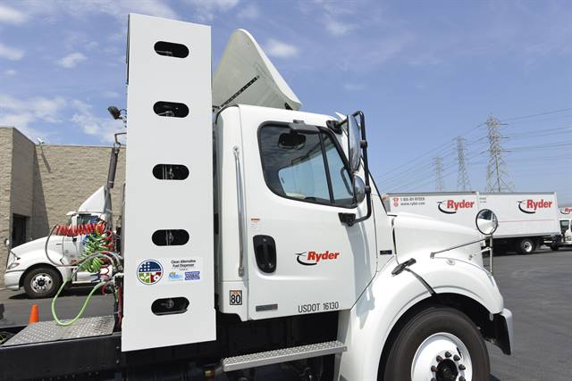 Ryder recently surpassed its goal of fueling its natural gas fleet for more than 15 million miles. Photo courtesy Ryder System