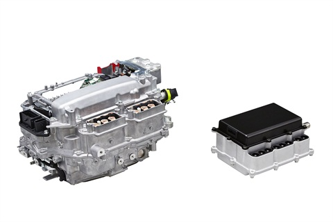 (L to R) PCU with silicon power semiconductors (production model); PCU with SiC power semiconductors (future target). Photo courtesy of Toyota.