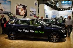 The Volvo V60 Bi-Fuel Sport stands beside the Volvo V70 Bi-Fuel at the NGV 2013 Gothenburg.