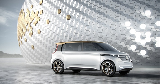 Photo of BUDD-e microbus concept courtesy of VW.