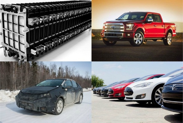 (Clockwise from l. to r.) Phinergy EV battery; Ford's 2015 F-150; Toyota's hydrogen fuel-cell vehicle; and Tesla's Model S battery-electric vehicles