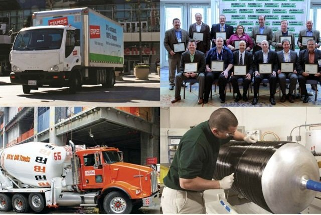 (Clockwise from l. to r.) Smith Newton battery-powerelectric truck; 2014 Sustainability All-Stars; Kenworth T440 CNG truck equipped with a natural gas engine; and maintenance of CNG cylinder