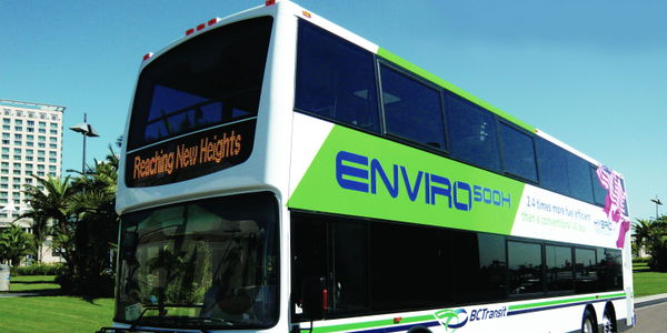 The Enviro500 Hybrid Double Deck transit bus is powered by EPA 2010 emissions-compliant engines...