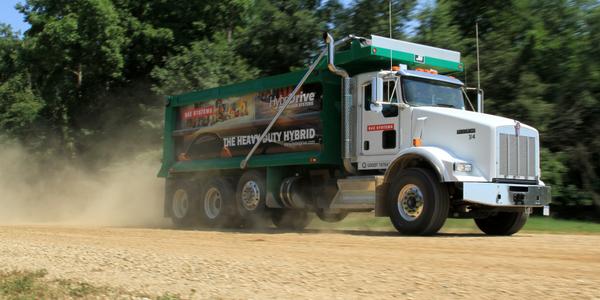 A HybriDrive dump truck