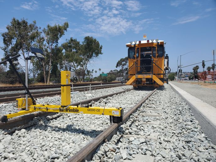 San Diego's Mid-Coast Corridor Transit project is hittingrecord speed and efficiency with Trimble's new rail tamping technology designed to provide accurate track measurements. - CL Surveying and Mapping