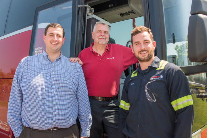 A true family-run business, DATTCO's generational talent includes President Don DeVivo (upper center) and his sons Kyle and Kevin (left to right). - DATTCO