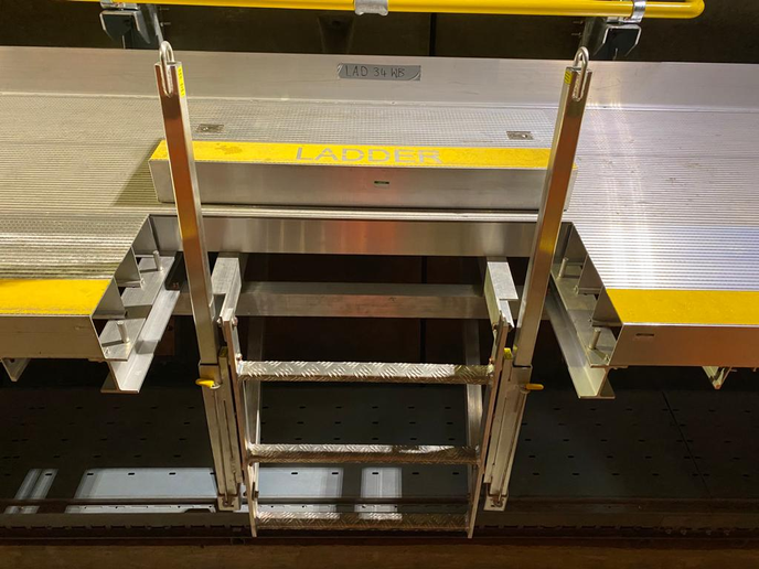 More than 350 Ladder Up® Safety Posts from BILCO are used along the 73-mile underground railway, helping provide engineers with unobstructed access to walkways to conduct maintenance. - BILCO