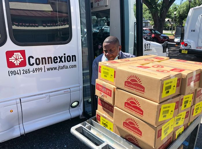 During spring of 2020, JTA used its 98-vehicle paratransit fleet and staff to help the City of Jacksonville distribute close to 65,000 meals to 10 senior and public housing facilities. - JTA
