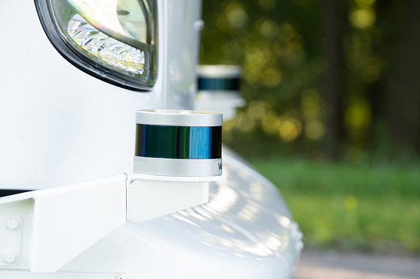 Imaging sensors such as cameras, radar, and LIDAR (light detection and ranging) generate a real-time virtual model of the area surrounding the bus. - New Flyer