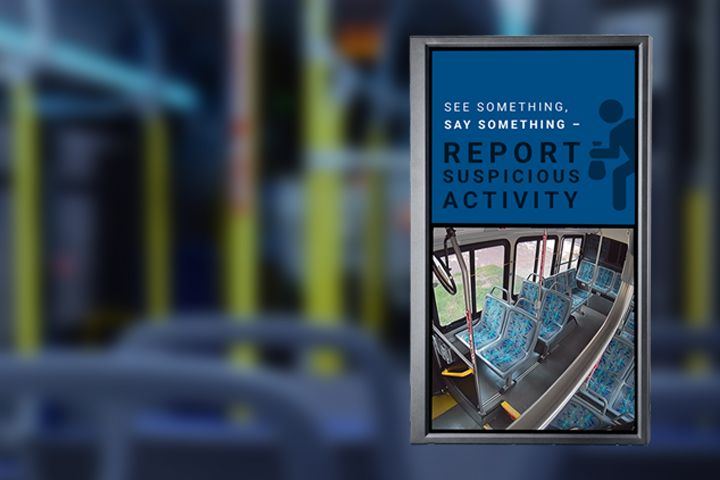 : An Infotainment/Public Display Monitor system provides an improved ride experience and provides revenue for transit agencies. - Safe Fleet