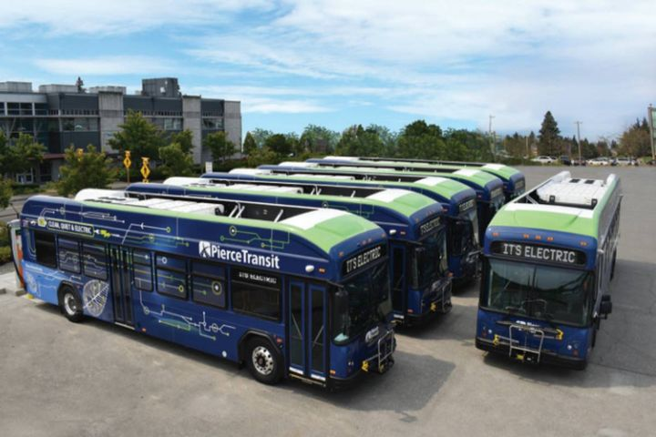 Pierce Transit determined that full vinyl wraps were the most efficient, impactful, and durable method to get its new battery-powered buses noticed. - Photo: Pierce Transit