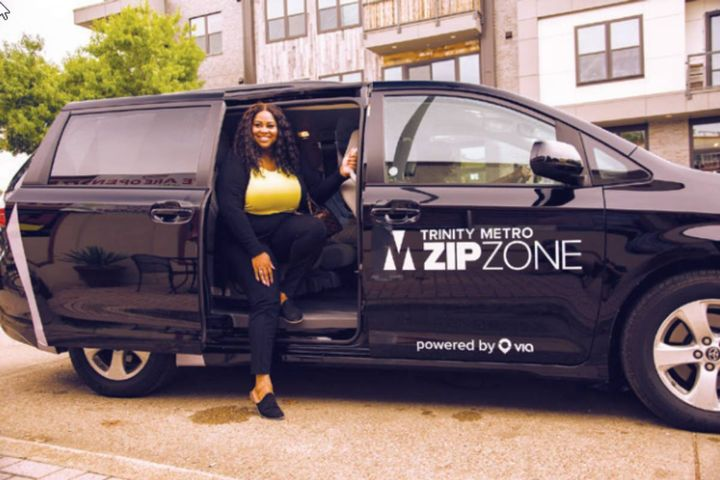 Trinity Metro's ZIPZONE on-demand rideshare program is proving to be a successful option for passengers to ride within a limited area or to connect to our buses and trains. - Photo: Trinity Metro
