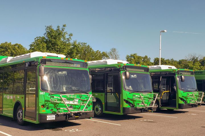 The three new BYD buses join a BYD K7M delivered to TransIT in the fall of 2019. - BYD