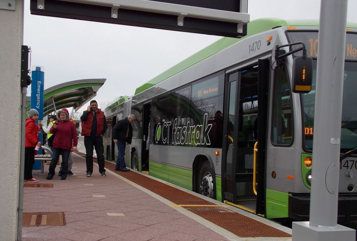 The three 40-foot battery-electric buses with key automation features will be deployed on the CTfastrak bus rapid transit corridor between New Britain and Hartford, Conn.  - CTDOT