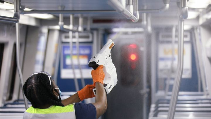 MARTA uses electrostatic sprayers to clean and sanitize its entire fleet of approximately 500 buses every evening and disinfect high touch surfaces on 200 buses throughout the day. - MARTA