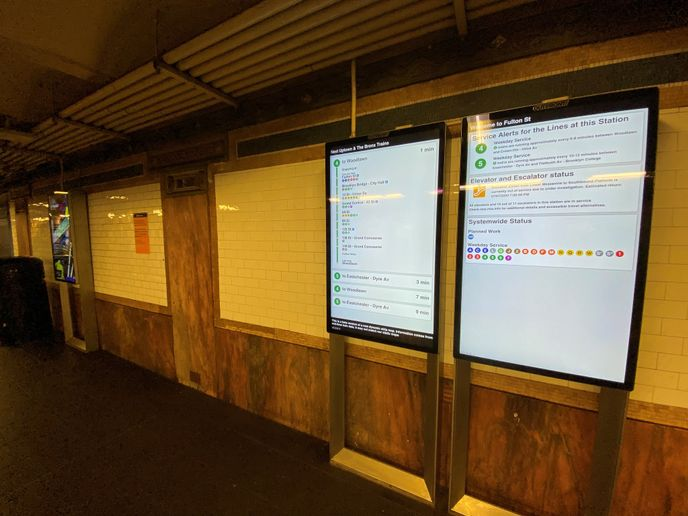 The screens provide important real-time service information for customers while generating advertising revenue for the MTA. - Joe Chan/MTA NYC Transit