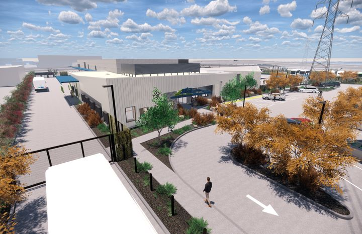 In support of the agency's wide coverage area, the facility was programmed to operate, service, and maintain RTA's entire fleet and serve as the headquarters for the agency. - Rendering via Stantec